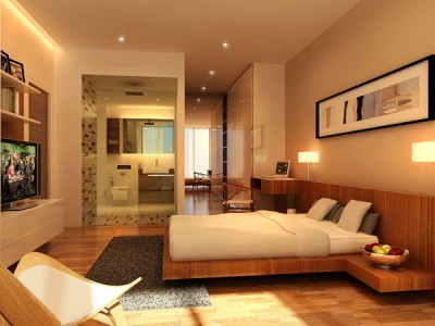 Contemporary-bedroom-with-wood-floor-gray-carpet-wood-bedside-table-and-small-night-lamps