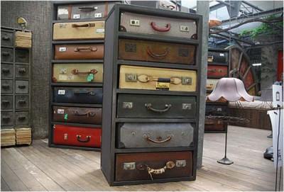 Netradiční nábytek: Kufry místo zásuvek jako komody (http://www ...